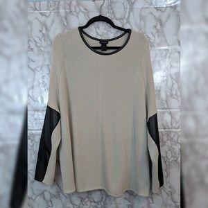 Ann Taylor | Faux leather trim sweater